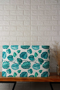 Leaf Print Teal Lampshade in [FRUSTUM, OVAL, TRAPEZIUM, RECTANGLE] Shapes