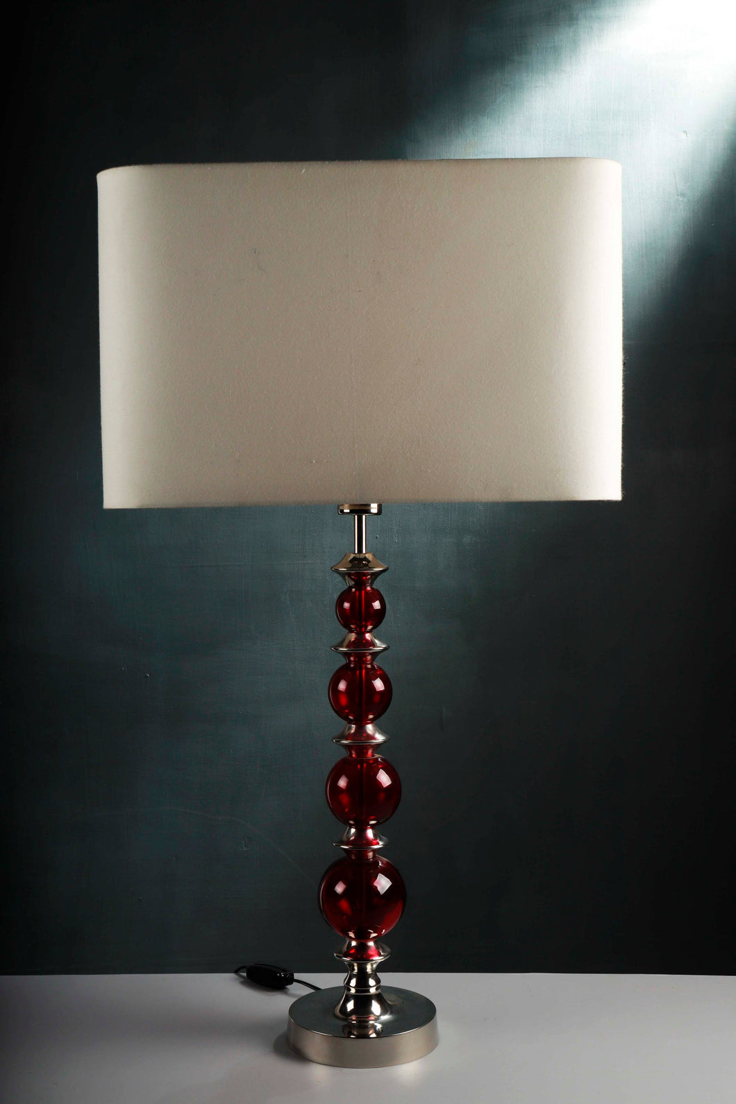 Gum Ball Red Glass Table Lamp with 2 [WHITE, BLACK] Lampshade