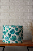 Load image into Gallery viewer, Leaf Print Drum Teal Lampshade for Table Lamp in [4 Sizes]