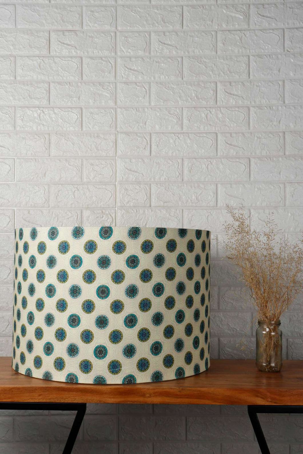 Mandala Print Green Drum Lampshade for Table Lamp