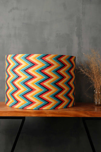 Vibrant Zigzag Print Drum Lampshade for Table Lamp