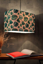 Load image into Gallery viewer, Leaf Print Teal Hanging Lampshade in [4 Shapes]