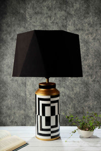 Posh Table Lamp with Hexagon Lampshade 2 [BLACK, RUGGED ORANGE]