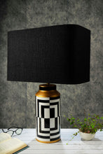 Load image into Gallery viewer, Posh Table Lamp with 2 Rectangular [BLACK, WHITE] Lampshade