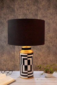 Posh Table Lamp with Drum Black Lampshade