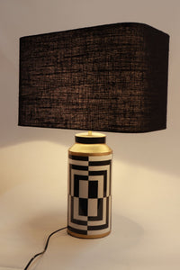 Posh Table Lamp with 2 Rectangular [BLACK, WHITE] Lampshade