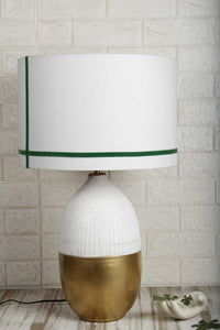 Handmade Capsule Table Lamp with Stripes White Shade