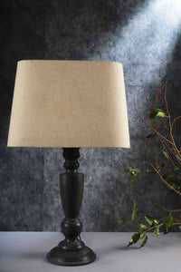 Trophy Smoked Table Lamp with Beige Lampshade
