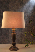 Load image into Gallery viewer, Trophy Smoked Table Lamp with Beige Lampshade