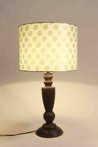 Trophy Smoked Table Lamp with 2 [ORANGE, GREEN POLKA DOTS] Lampshade