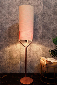 Veins Lamp Stand with Long Light Beige Lampshade