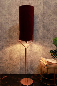 Veins Lamp Stand with Long Velvet Fabric Lampshade