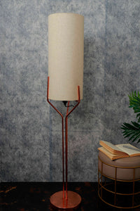 Veins Lamp Stand with Long Beige Color Lampshade