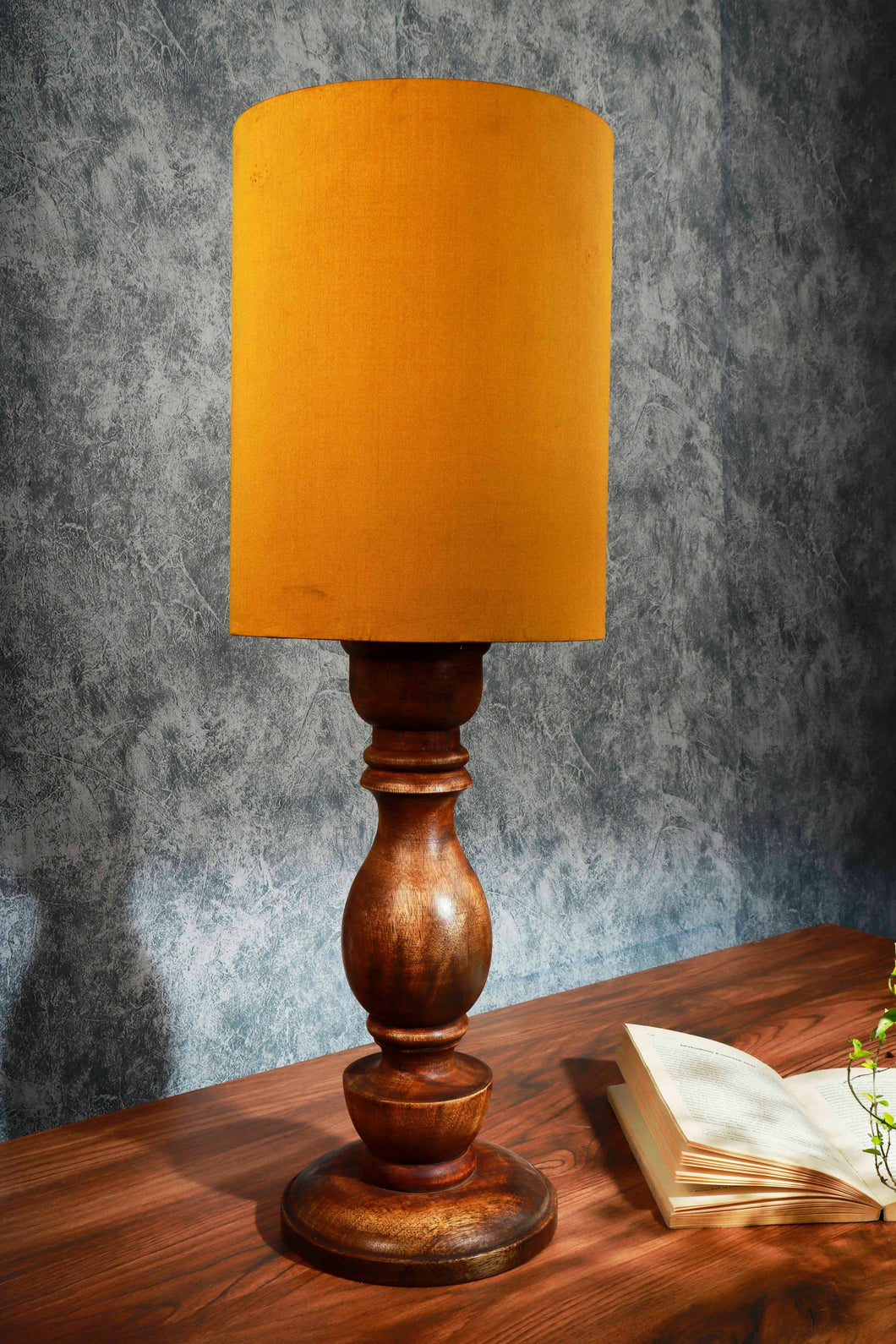 Shady Brown Table Lamp with Long Yellow Velvet Lampshade