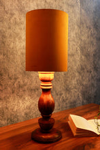 Load image into Gallery viewer, Shady Brown Table Lamp with Long Yellow Velvet Lampshade