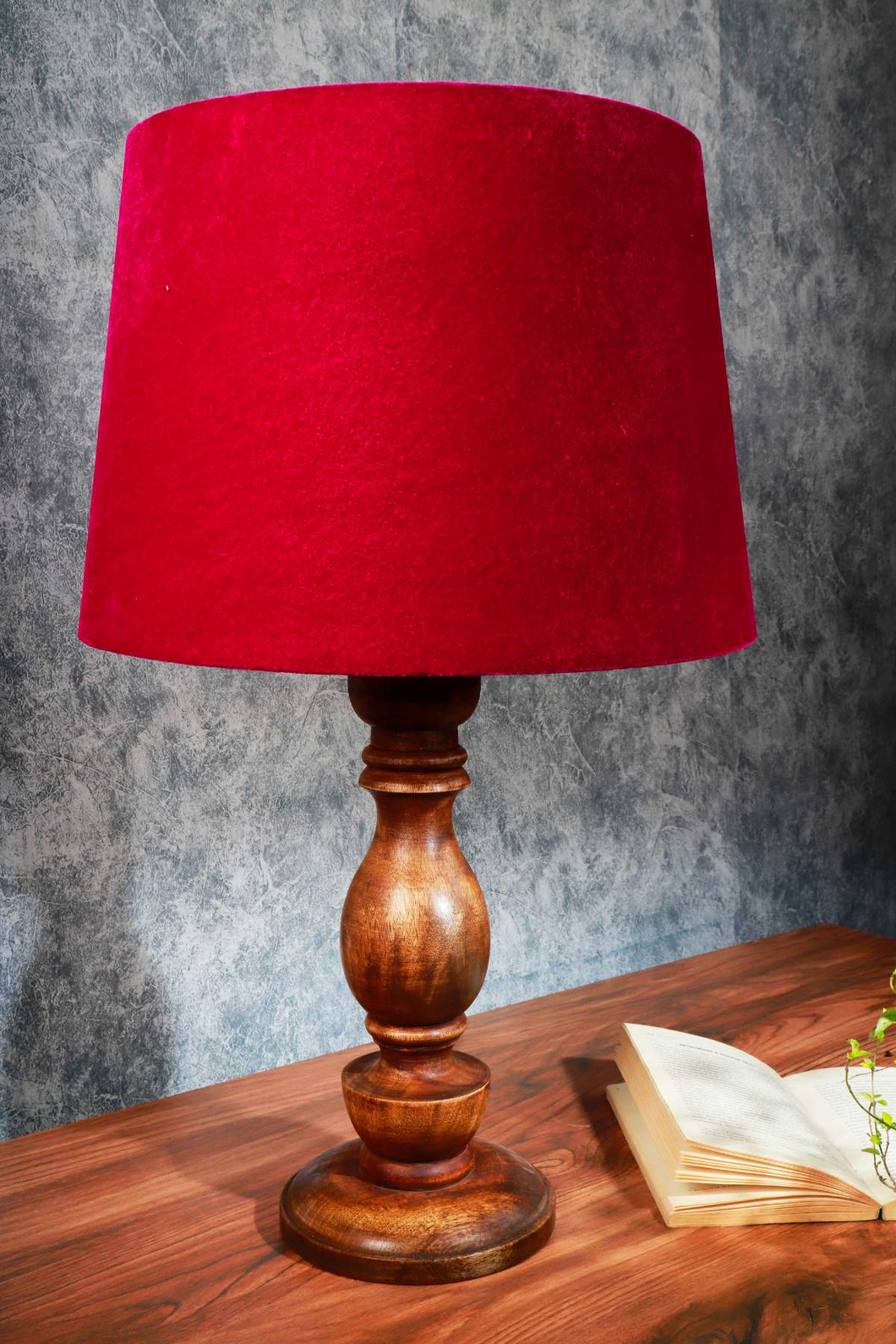 Shady Brown Table Lamp with Frustum Pink Velvet Lampshade