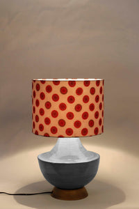 Grey Genie Table Lamp with Red Printed Shade