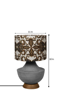 Grey Genie Table Lamp with Designer Printed Shade