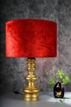 Load image into Gallery viewer, Quirky Gold Table Lamp with Round Rugged Orange Lampshade