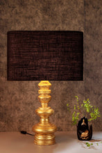 Load image into Gallery viewer, Quirky Gold Table Lamp with Black Rectangular Lampshade