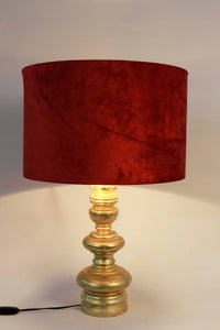 Quirky Gold Table Lamp with Round Rugged Orange Lampshade