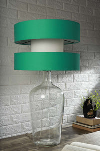 Clear Bottle Table Lamp with 2 Double Storey Shade (Black, Mint Green)