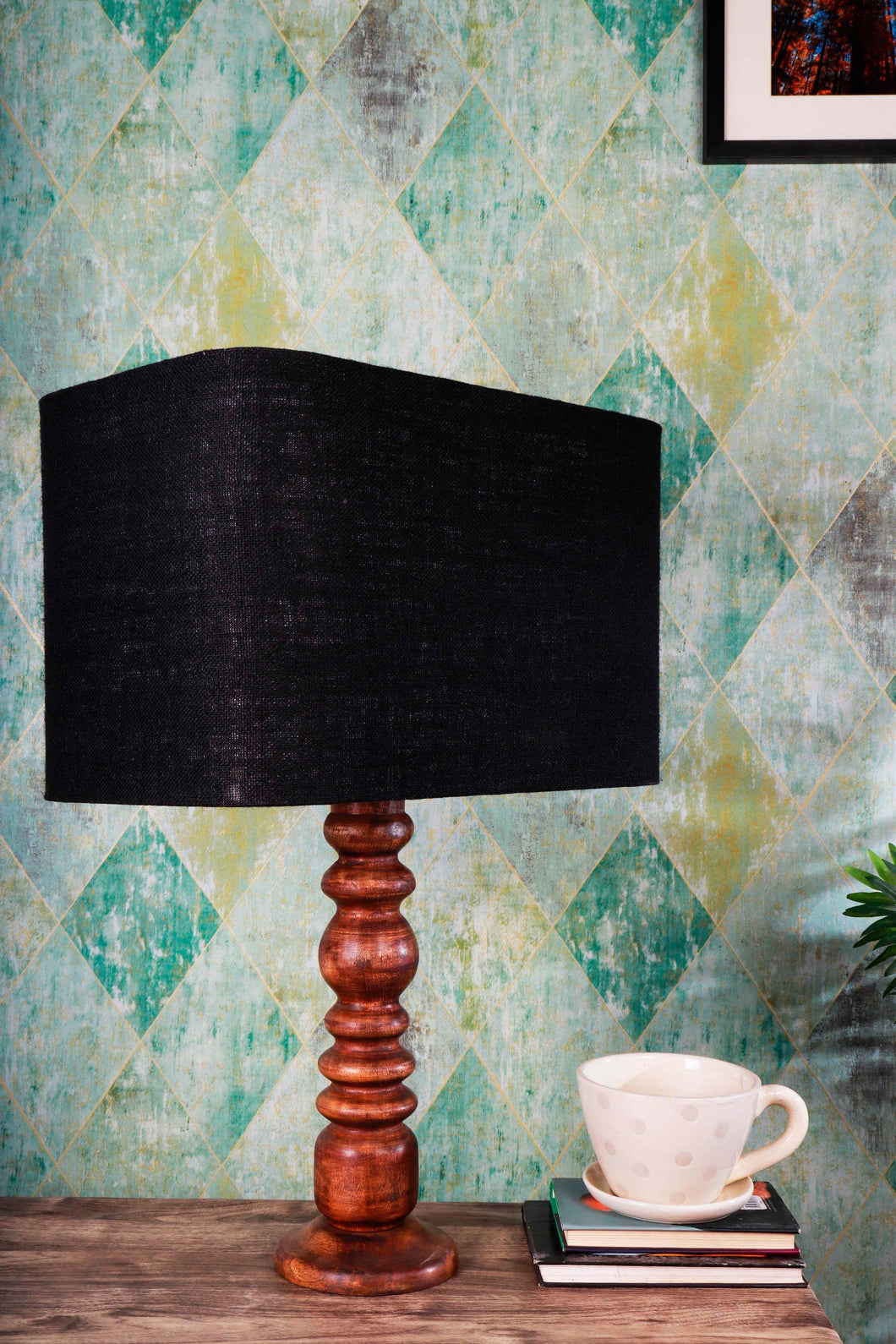 Bumpy Brown Table Lamp with Black Rectangular Lampshade