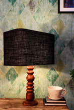 Load image into Gallery viewer, Bumpy Brown Table Lamp with Black Rectangular Lampshade