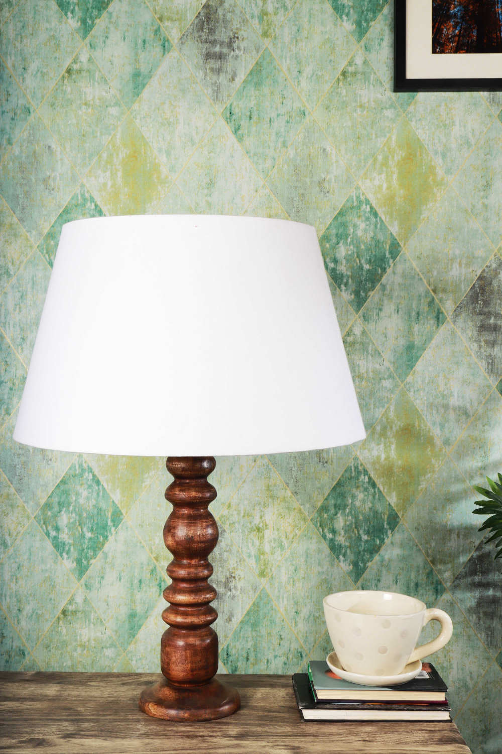 Bumpy Brown Table Lamp with Frustum White Shade