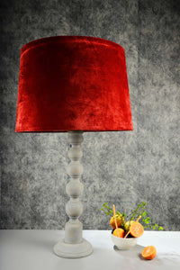 Grey Caterpillar Table Lamp with Frustum Rust Orange Shade