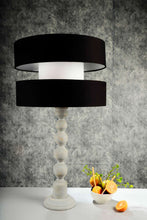 Load image into Gallery viewer, Grey Caterpillar Table Lamp with Designer Black Shade
