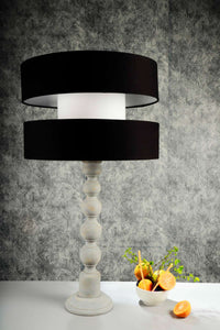 Grey Caterpillar Table Lamp with Designer Black Shade