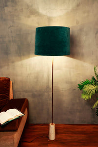 Marble Arrow Lamp Stand with Round Green Velvet Lampshade