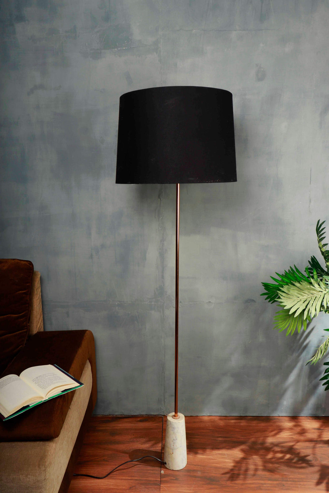 Marble Arrow Lamp Stand with Tapered Black Lampshade