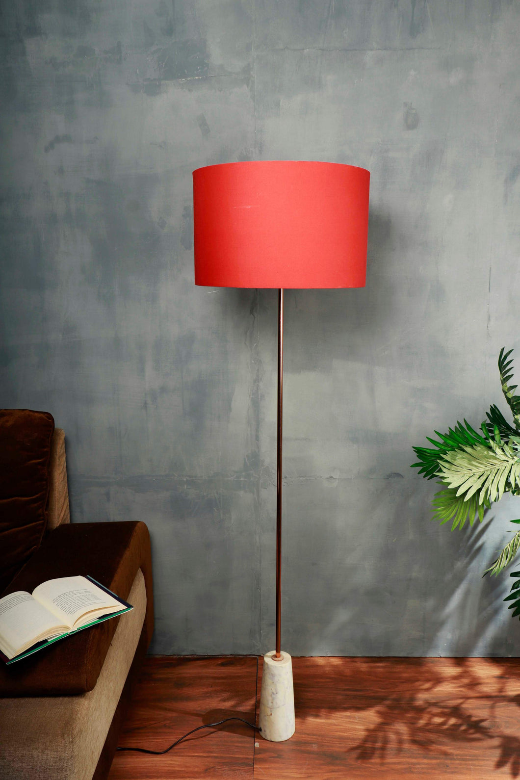 Marble Arrow Lamp Stand with Round Red Lampshade
