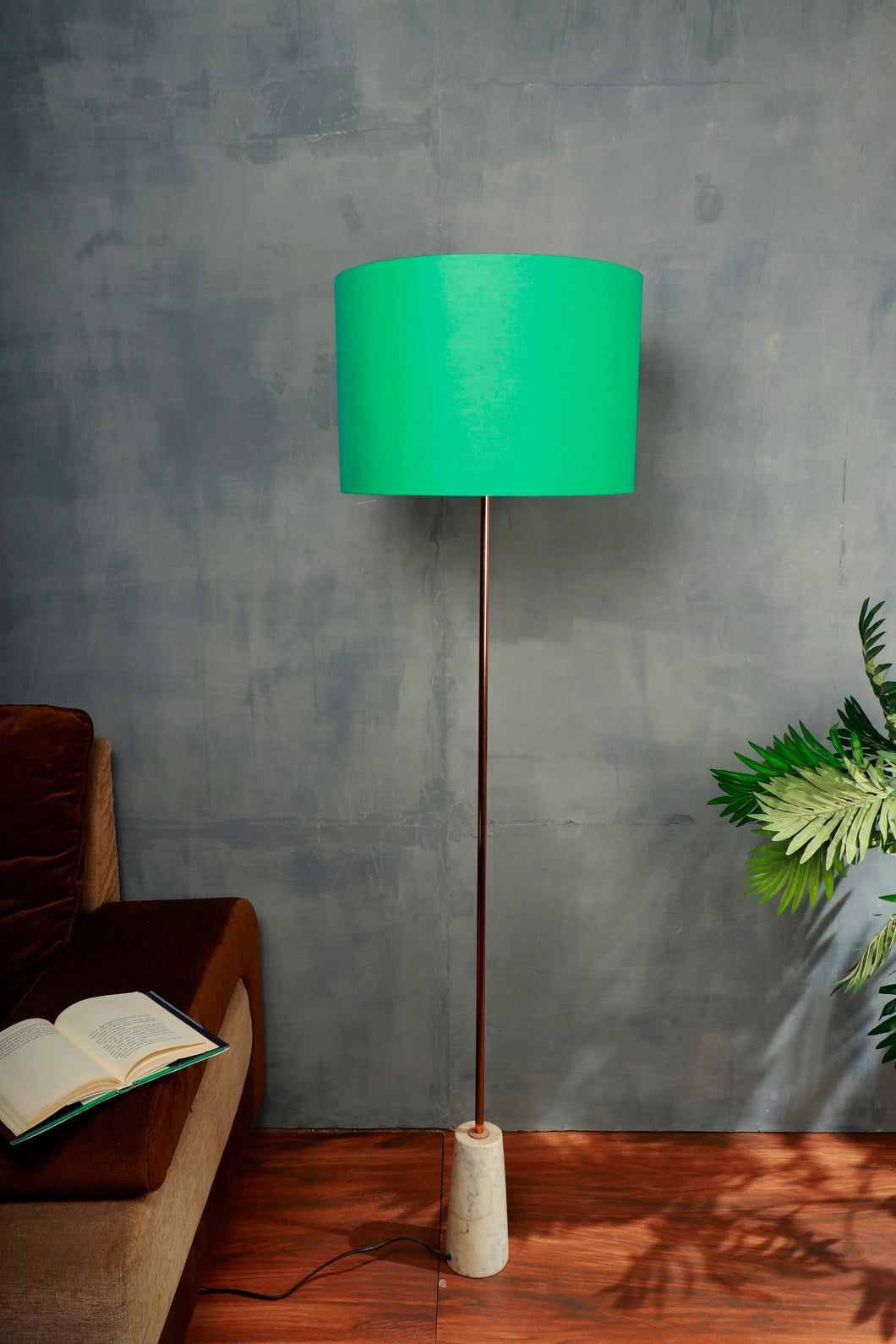 Marble Arrow Lamp Stand with Mint Green Lampshade