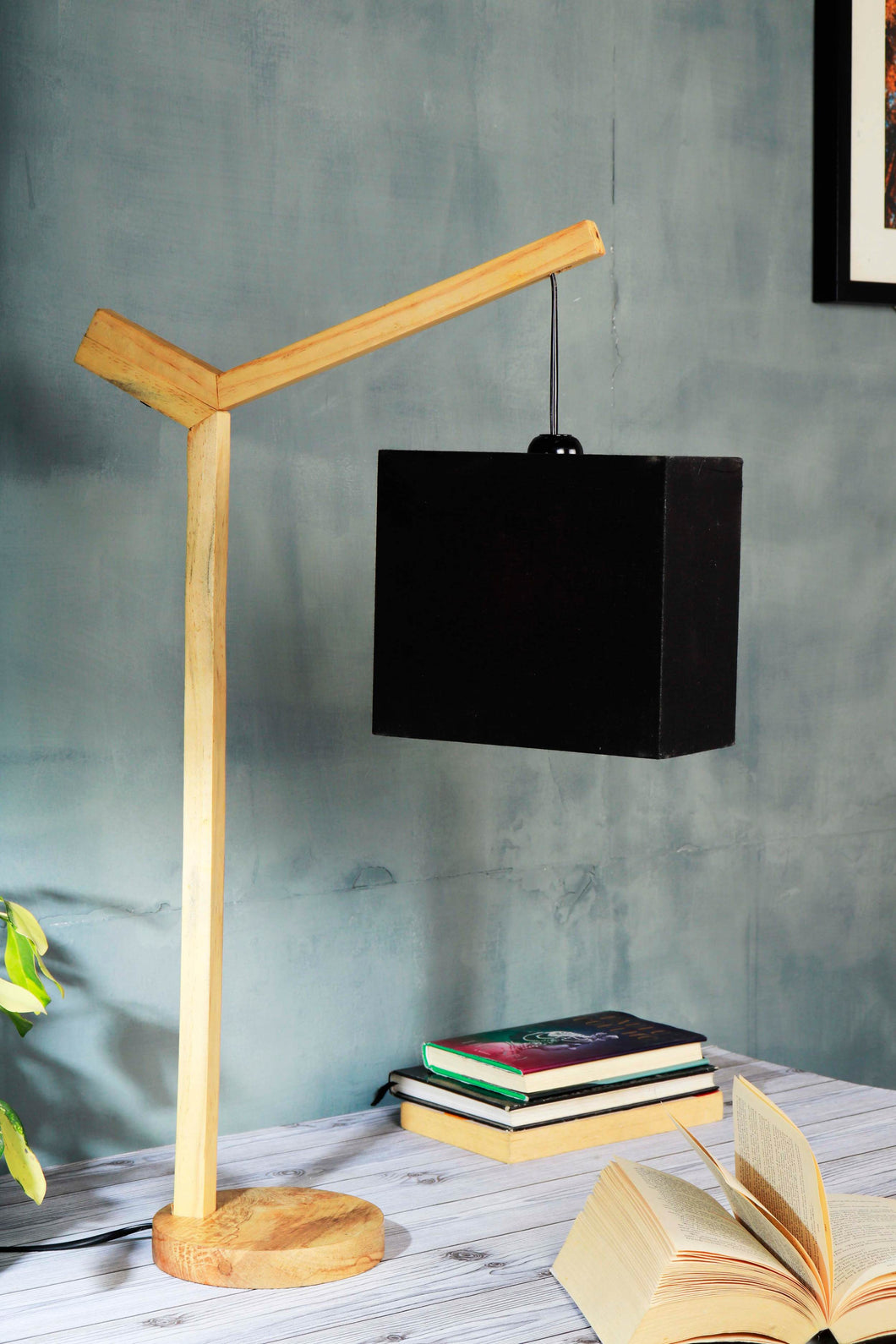 Small Ozzy Table Lamp with Rectangular Black Lampshade