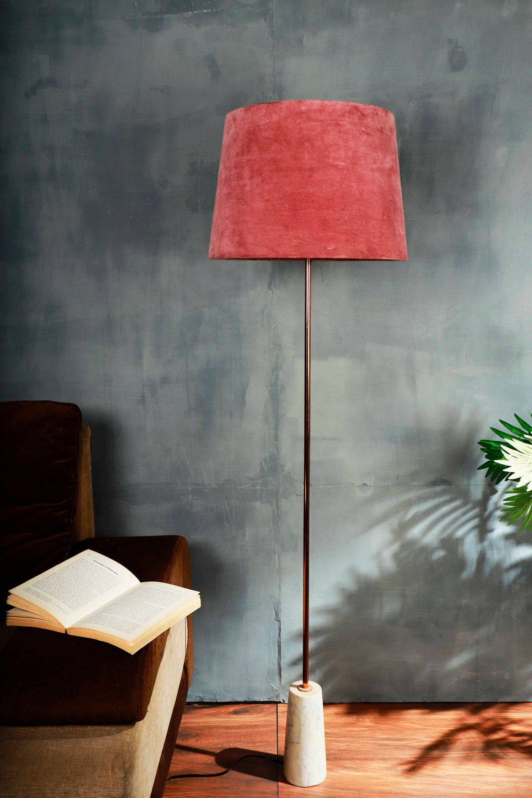 Marble Arrow Lamp Stand with Dusty Pink Velvet Lampshade