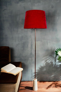 Marble Arrow Lamp Stand with Tapered Pink Velvet Lampshade