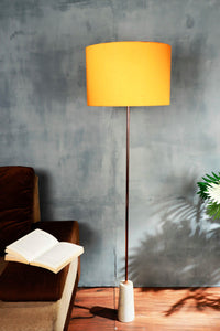 Marble Arrow Lamp Stand with Round Orange Lampshade