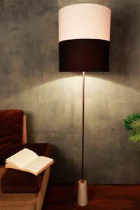 Marble Arrow Lamp Stand with Cylindrical Black & White Lampshade