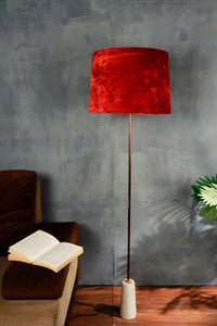 Marble Arrow Lamp Stand with Tapered Rusty Orange Lampshade