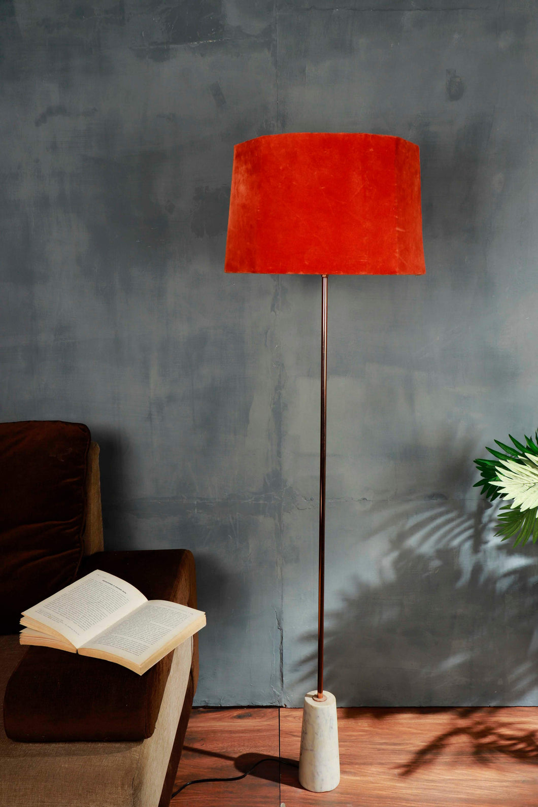 Marble Arrow Lamp Stand with Rugged Orange Lampshade