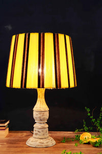Patchy White Table Lamp with Yellow Yarn Lampshade
