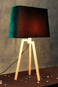 Small Madison Lamp Stand with Tapered Bottle Green Lampshade