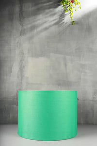 Drum Shaped Jungle Green Color Cotton Lampshade