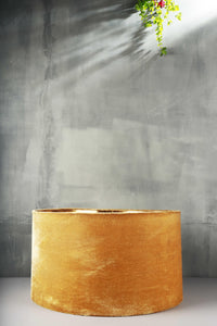 Yellow Velvet Drum Lampshade for Table Lamp [16Inches]