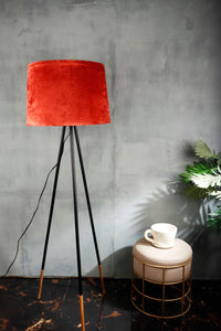 Joss Stick Lamp Stand with Tapered Rugged Orange Lampshade