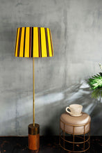 Load image into Gallery viewer, Long Gold Lamp Stand with Yellow Striped Shade