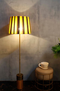 Long Gold Lamp Stand with Yellow Striped Shade